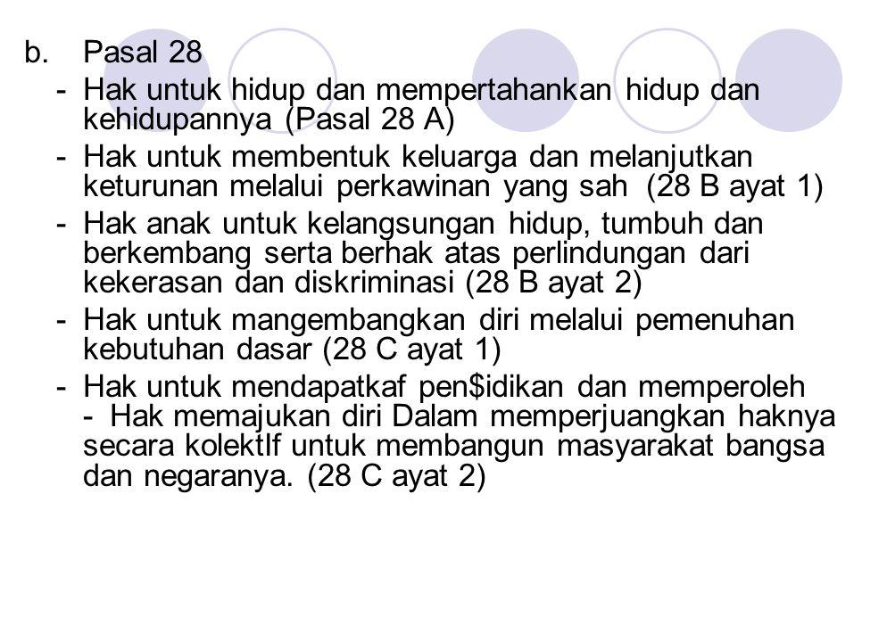 b. Pasal 28 - Hak untuk hidup dan mempertahankan hidup dan kehidupannya (Pasal 28 A) - Hak untuk membentuk keluarga dan melanjutkan keturunan melalui