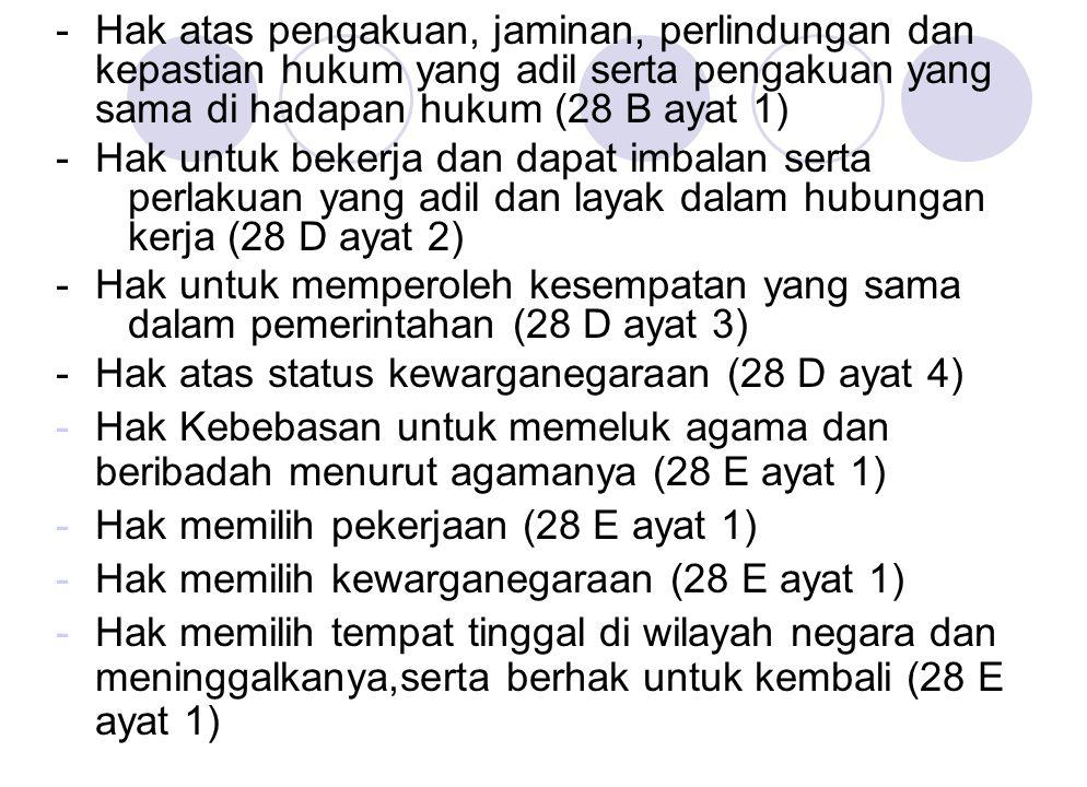 - Hak atas pengakuan, jaminan, perlindungan dan kepastian hukum yang adil serta pengakuan yang sama di hadapan hukum (28 B ayat 1) - Hak untuk bekerja