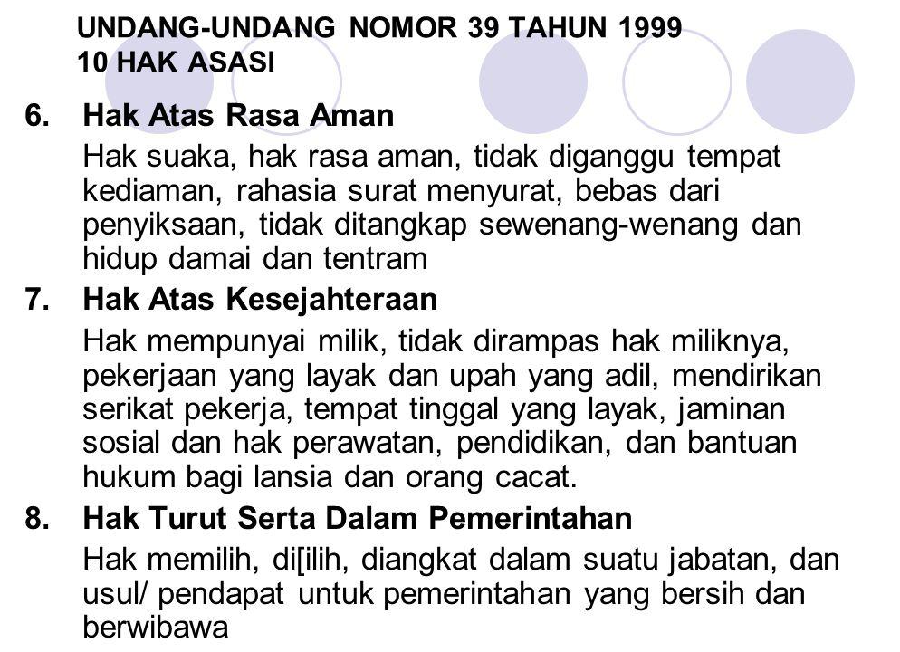 UNDANG-UNDANG NOMOR 39 TAHUN 1999 10 HAK ASASI 6.Hak Atas Rasa Aman Hak suaka, hak rasa aman, tidak diganggu tempat kediaman, rahasia surat menyurat,