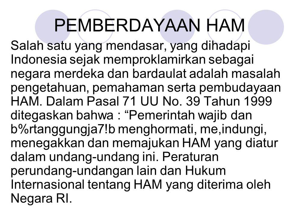 PEMBERDAYAAN HAM Salah satu yang mendasar, yang dihadapi Indonesia sejak memproklamirkan sebagai negara merdeka dan bardaulat adalah masalah pengetahu