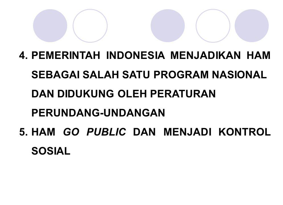 4.PEMERINTAH INDONESIA MENJADIKAN HAM SEBAGAI SALAH SATU PROGRAM NASIONAL DAN DIDUKUNG OLEH PERATURAN PERUNDANG-UNDANGAN 5.HAM GO PUBLIC DAN MENJADI K