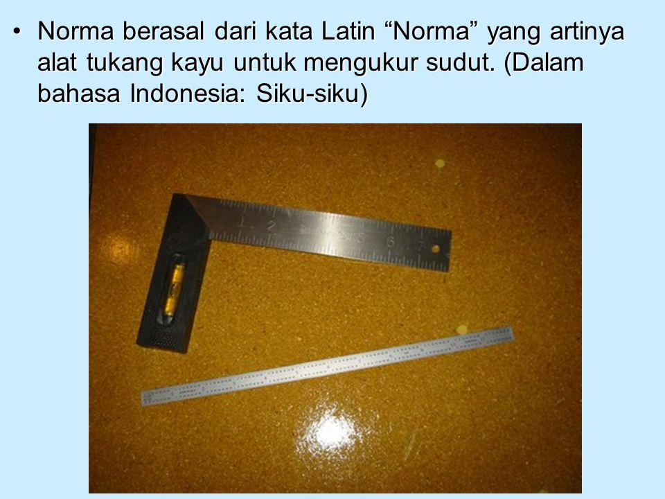"Norma berasal dari kata Latin ""Norma"" yang artinya alat tukang kayu untuk mengukur sudut. (Dalam bahasa Indonesia: Siku-siku)Norma berasal dari kata L"
