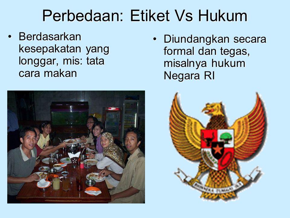 Perbedaan: Etiket Vs Hukum Berdasarkan kesepakatan yang longgar, mis: tata cara makanBerdasarkan kesepakatan yang longgar, mis: tata cara makan Diunda