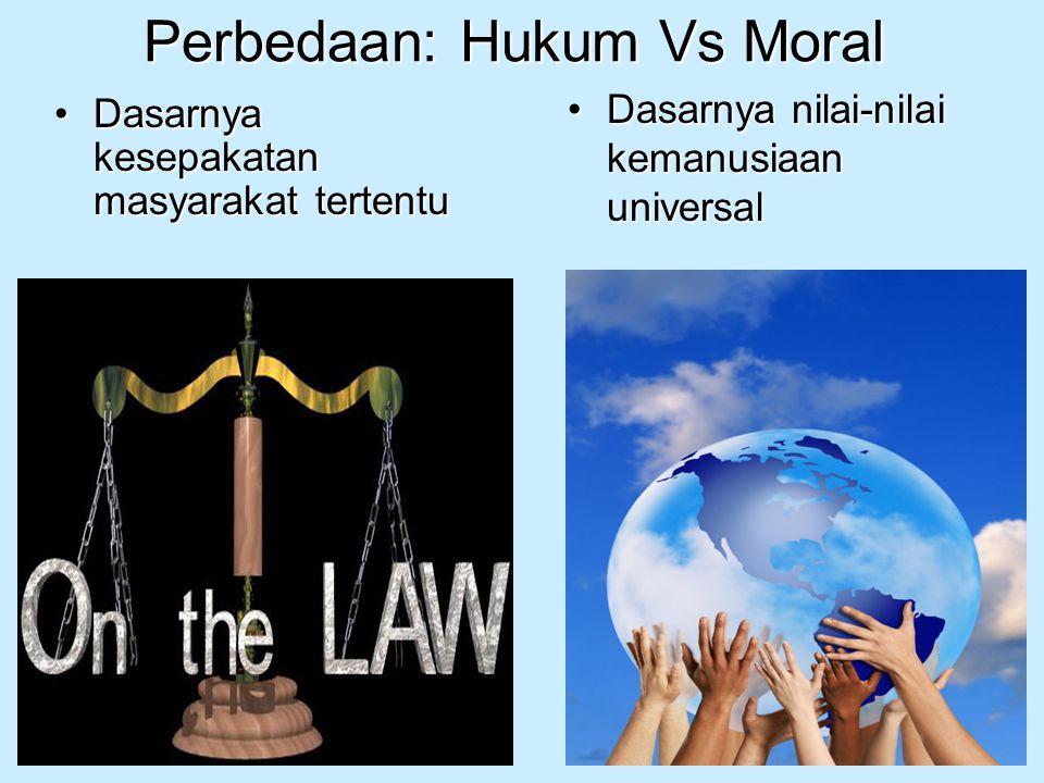 Perbedaan: Hukum Vs Moral Dasarnya kesepakatan masyarakat tertentuDasarnya kesepakatan masyarakat tertentu Dasarnya nilai-nilai kemanusiaan universalD