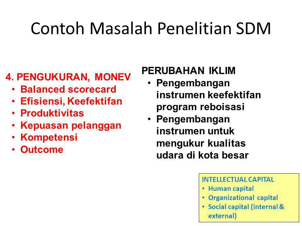 Contoh Masalah Penelitian SDM 4. PENGUKURAN, MONEV Balanced scorecard Efisiensi, Keefektifan Produktivitas Kepuasan pelanggan Kompetensi Outcome INTEL