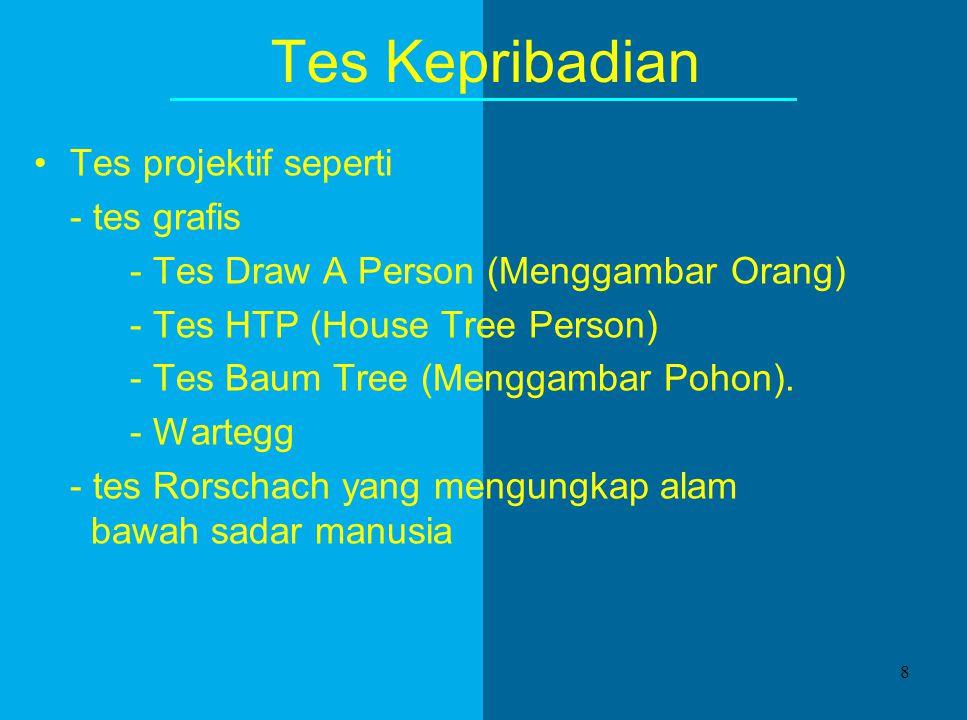 Tes Kepribadian Tes projektif seperti - tes grafis - Tes Draw A Person (Menggambar Orang) - Tes HTP (House Tree Person) - Tes Baum Tree (Menggambar Pohon).