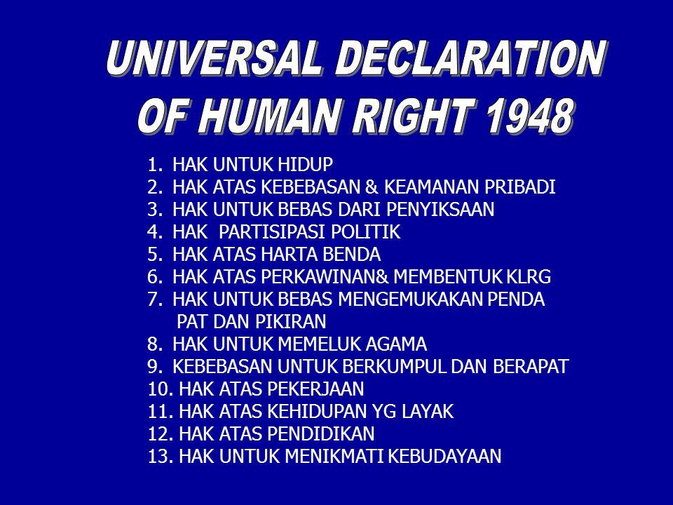 1.HAK UNTUK HIDUP 2.HAK ATAS KEBEBASAN & KEAMANAN PRIBADI 3.HAK UNTUK BEBAS DARI PENYIKSAAN 4.HAK PARTISIPASI POLITIK 5.HAK ATAS HARTA BENDA 6.HAK ATAS PERKAWINAN& MEMBENTUK KLRG 7.HAK UNTUK BEBAS MENGEMUKAKAN PENDA PAT DAN PIKIRAN 8.HAK UNTUK MEMELUK AGAMA 9.KEBEBASAN UNTUK BERKUMPUL DAN BERAPAT 10.