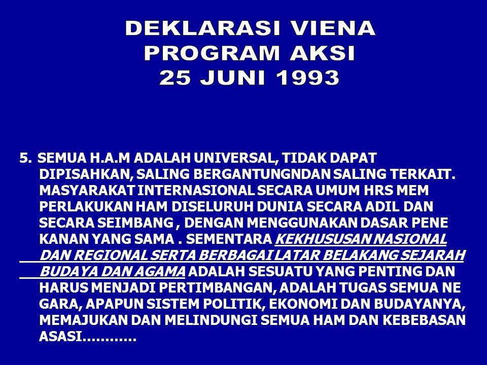 5.SEMUA H.A.M ADALAH UNIVERSAL, TIDAK DAPAT DIPISAHKAN, SALING BERGANTUNGNDAN SALING TERKAIT.