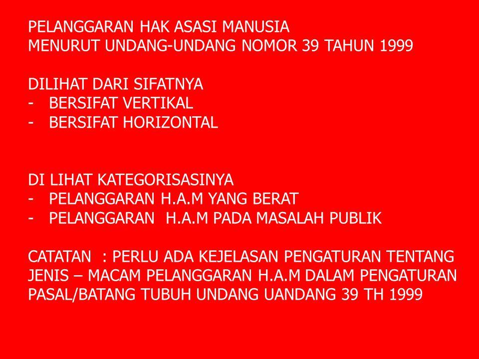 PELANGGARAN HAK ASASI MANUSIA MENURUT UNDANG-UNDANG NOMOR 39 TAHUN 1999 DILIHAT DARI SIFATNYA - BERSIFAT VERTIKAL - BERSIFAT HORIZONTAL DI LIHAT KATEG