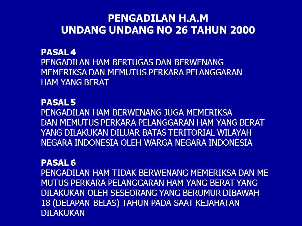 PASAL 4 PENGADILAN HAM BERTUGAS DAN BERWENANG MEMERIKSA DAN MEMUTUS PERKARA PELANGGARAN HAM YANG BERAT PASAL 5 PENGADILAN HAM BERWENANG JUGA MEMERIKSA
