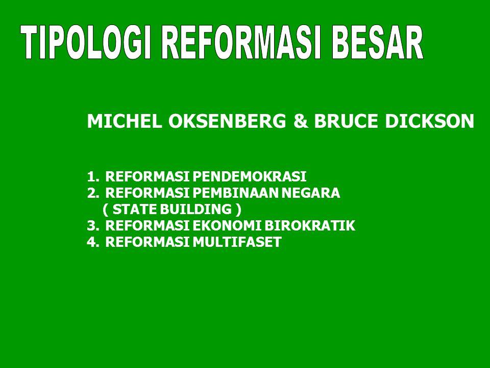 MICHEL OKSENBERG & BRUCE DICKSON 1.REFORMASI PENDEMOKRASI 2.REFORMASI PEMBINAAN NEGARA ( STATE BUILDING ) 3.REFORMASI EKONOMI BIROKRATIK 4.REFORMASI MULTIFASET