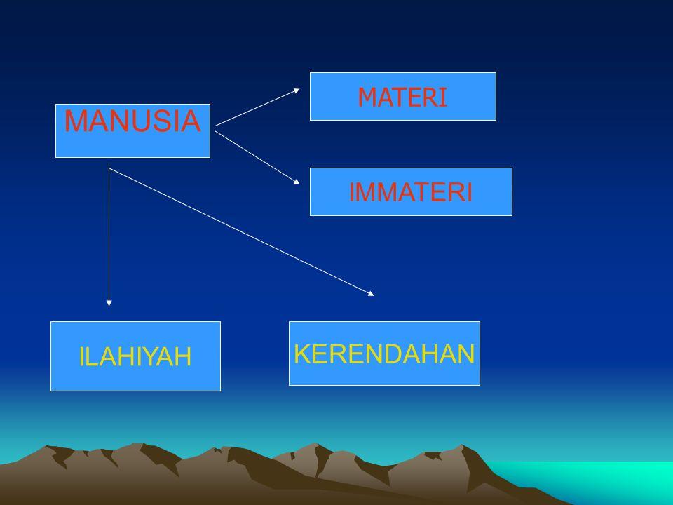 MANUSIA MATERI IMMATERI ILAHIYAH KERENDAHAN