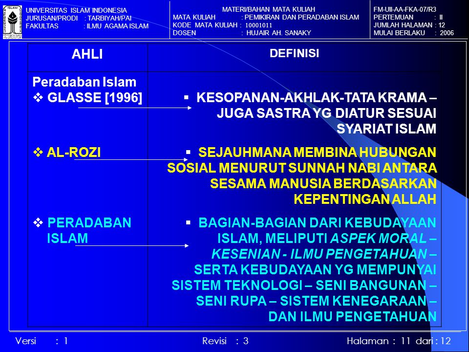 AHLI DEFINISI Peradaban Islam  GLASSE [1996]  AL-ROZI  PERADABAN ISLAM  KESOPANAN-AKHLAK-TATA KRAMA – JUGA SASTRA YG DIATUR SESUAI SYARIAT ISLAM  SEJAUHMANA MEMBINA HUBUNGAN SOSIAL MENURUT SUNNAH NABI ANTARA SESAMA MANUSIA BERDASARKAN KEPENTINGAN ALLAH  BAGIAN-BAGIAN DARI KEBUDAYAAN ISLAM, MELIPUTI ASPEK MORAL – KESENIAN - ILMU PENGETAHUAN – SERTA KEBUDAYAAN YG MEMPUNYAI SISTEM TEKNOLOGI – SENI BANGUNAN – SENI RUPA – SISTEM KENEGARAAN – DAN ILMU PENGETAHUAN FM-UII-AA-FKA-07/R3 PERTEMUAN : II JUMLAH HALAMAN : 12 MULAI BERLAKU : 2006 MATERI/BAHAN MATA KULIAH MATA KULIAH : PEMIKIRAN DAN PERADABAN ISLAM KODE MATA KULIAH : 10001011 DOSEN : HUJAIR AH.