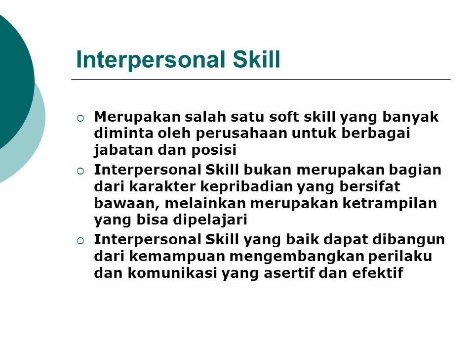 Interpersonal Skill  Merupakan salah satu soft skill yang banyak diminta oleh perusahaan untuk berbagai jabatan dan posisi  Interpersonal Skill buka