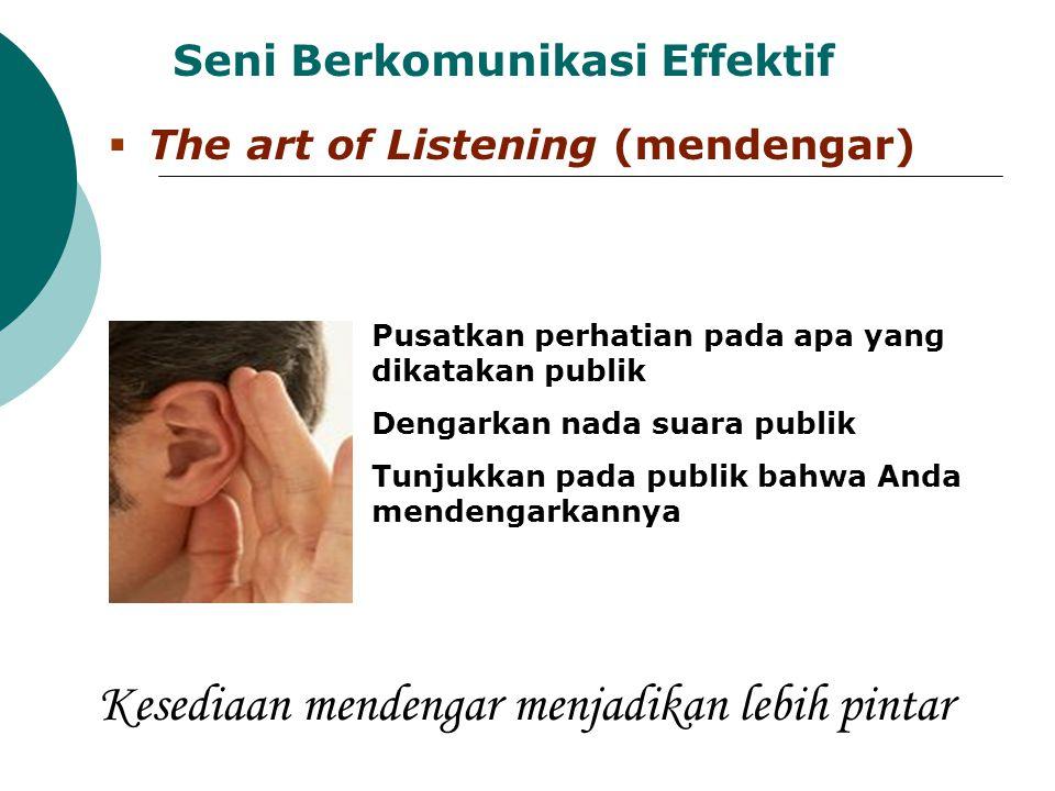 Seni Berkomunikasi Effektif  The art of Listening (mendengar) Pusatkan perhatian pada apa yang dikatakan publik Dengarkan nada suara publik Tunjukkan