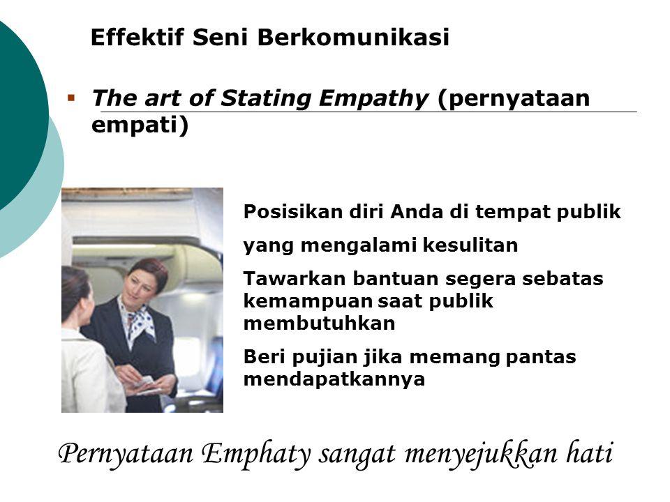 Effektif Seni Berkomunikasi Posisikan diri Anda di tempat publik yang mengalami kesulitan Tawarkan bantuan segera sebatas kemampuan saat publik membut