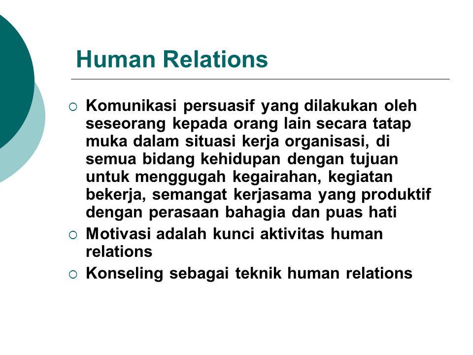 Human Relations  Komunikasi persuasif yang dilakukan oleh seseorang kepada orang lain secara tatap muka dalam situasi kerja organisasi, di semua bida