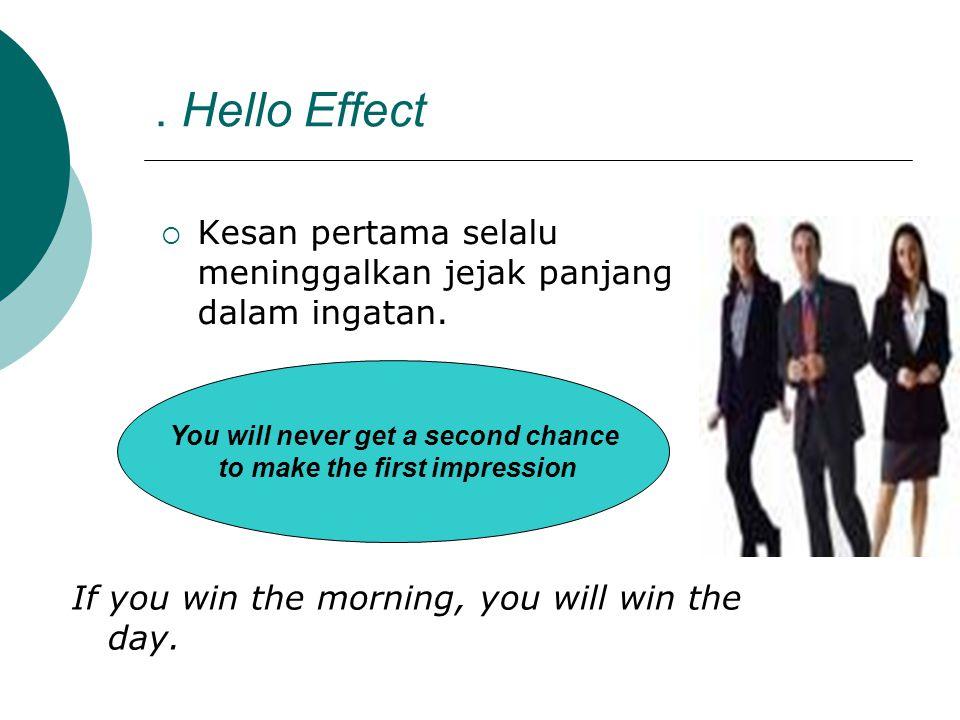 . Hello Effect  Kesan pertama selalu meninggalkan jejak panjang dalam ingatan. You will never get a second chance to make the first impression If you