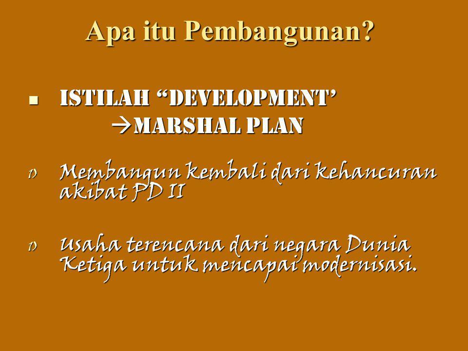 """Apa itu Pembangunan? Istilah """"Development' Istilah """"Development'  Marshal Plan  Marshal Plan 1) Membangun kembali dari kehancuran akibat PD II 1) Us"""