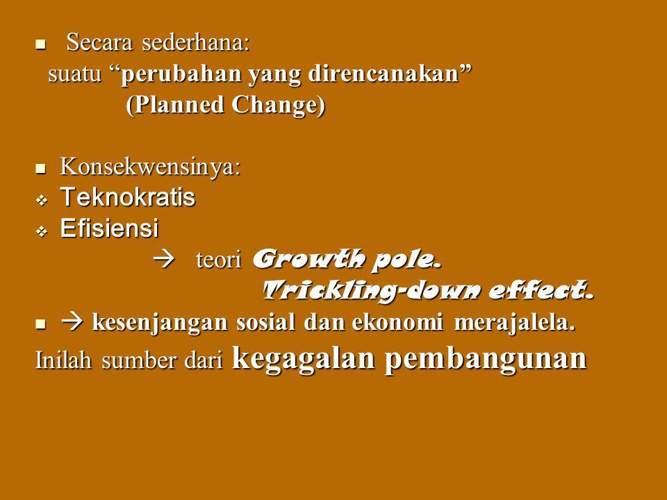 Suatu Pembangunan baru terjadi bila masyarakat melakukan usaha pembangunannya sendiri, sehingga proses pembangunan menjadi milik masyarakat.