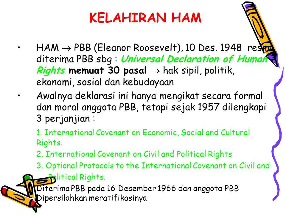 KELAHIRAN HAM HAM  PBB (Eleanor Roosevelt), 10 Des. 1948 resmi diterima PBB sbg : Universal Declaration of Human Rights memuat 30 pasal  hak sipil,
