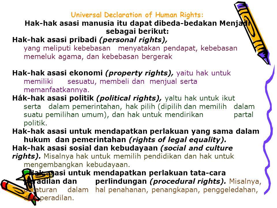Universal Declaration of Human Rights: Hak-hak asasi manusia itu dapat dibeda-bedakan Menjadi sebagai berikut: Hak-hak asasi pribadi (personal rights)