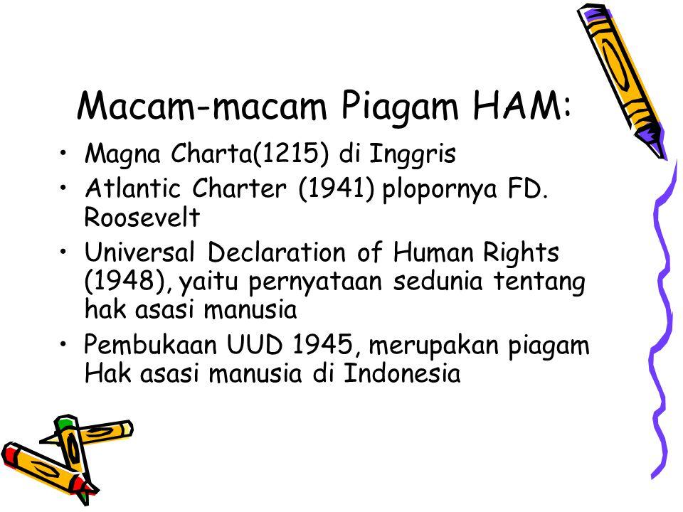 Macam-macam Piagam HAM: Magna Charta(1215) di Inggris Atlantic Charter (1941) plopornya FD. Roosevelt Universal Declaration of Human Rights (1948), ya