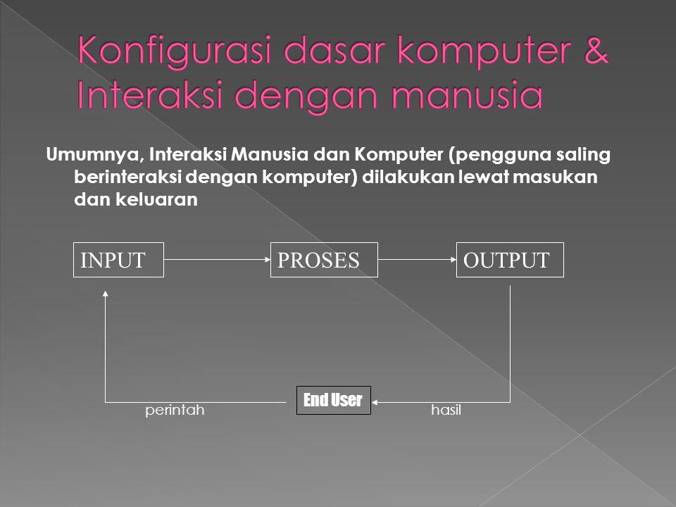 Umumnya, Interaksi Manusia dan Komputer (pengguna saling berinteraksi dengan komputer) dilakukan lewat masukan dan keluaran INPUTOUTPUTPROSES End User