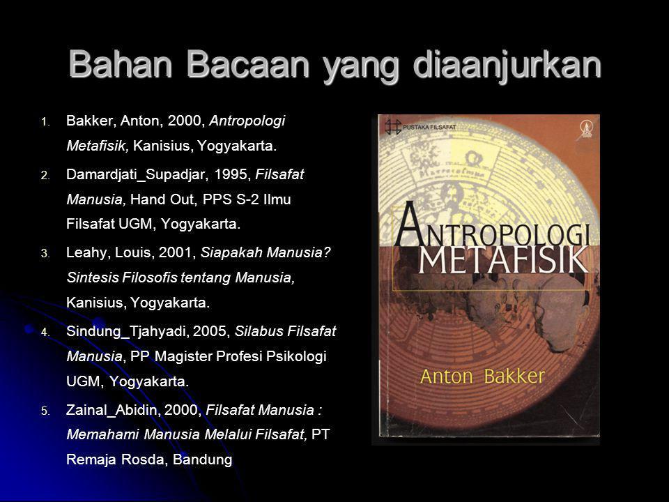 Bahan Bacaan yang diaanjurkan 1. 1. Bakker, Anton, 2000, Antropologi Metafisik, Kanisius, Yogyakarta. 2. 2. Damardjati_Supadjar, 1995, Filsafat Manusi