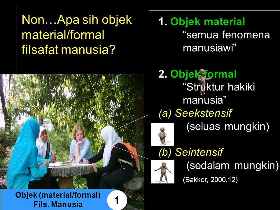 """Non…Apa sih objek material/formal filsafat manusia? 1. Objek material """"semua fenomena manusiawi"""" 2. Objek formal """"Struktur hakiki manusia"""" (a) Seekste"""