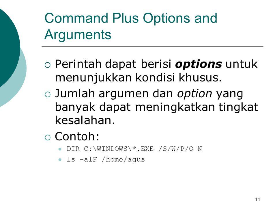 11 Command Plus Options and Arguments  Perintah dapat berisi options untuk menunjukkan kondisi khusus.  Jumlah argumen dan option yang banyak dapat