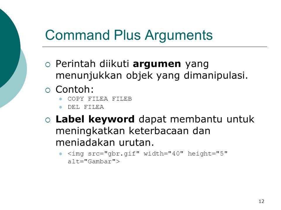 12 Command Plus Arguments  Perintah diikuti argumen yang menunjukkan objek yang dimanipulasi.  Contoh: COPY FILEA FILEB DEL FILEA  Label keyword da