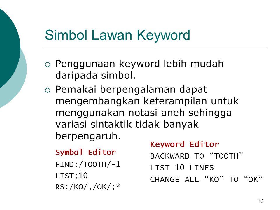 16 Simbol Lawan Keyword  Penggunaan keyword lebih mudah daripada simbol.  Pemakai berpengalaman dapat mengembangkan keterampilan untuk menggunakan n