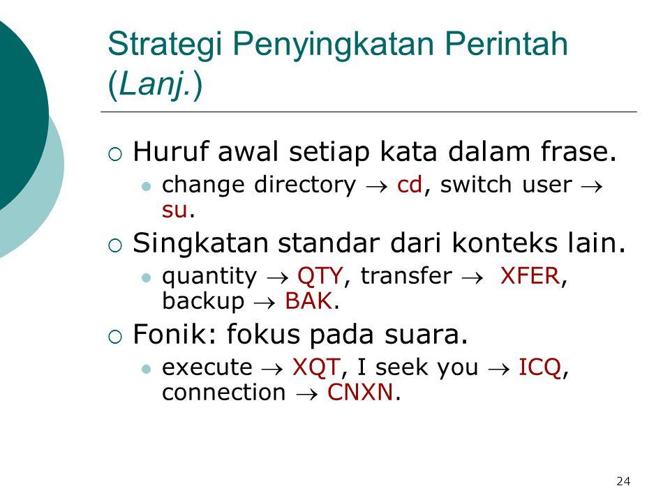 24 Strategi Penyingkatan Perintah (Lanj.)  Huruf awal setiap kata dalam frase. change directory  cd, switch user  su.  Singkatan standar dari kont