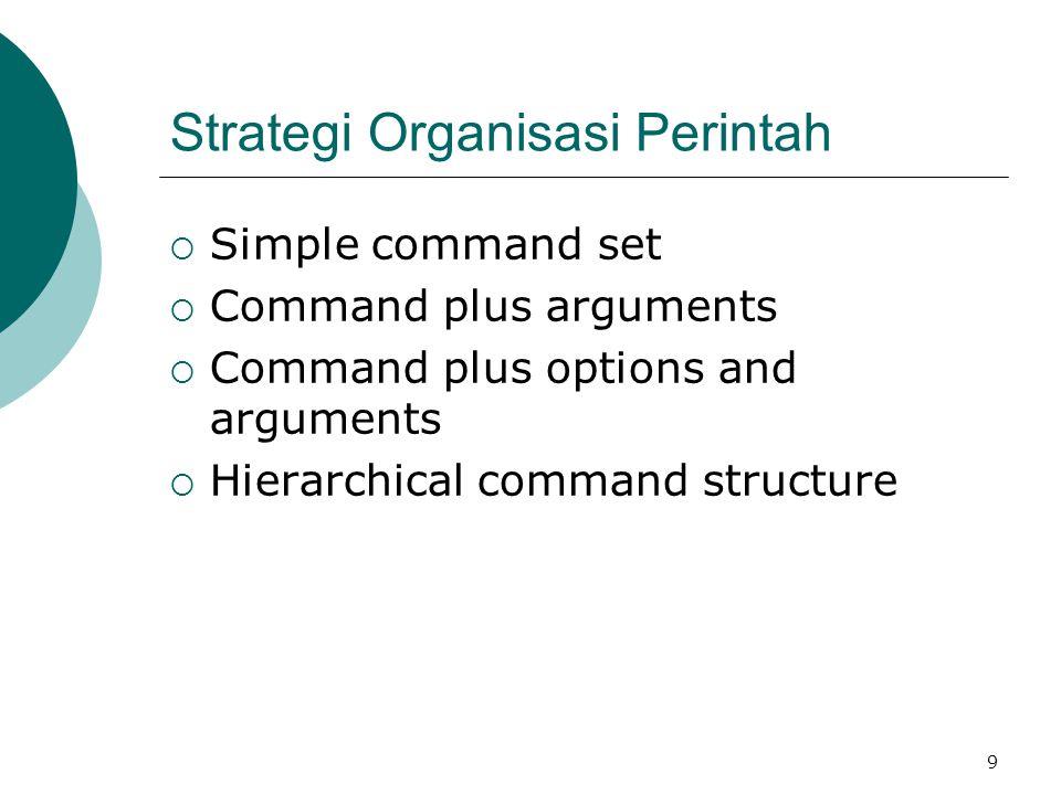 10 Simple Command Set  Setiap perintah dipilih untuk melaksanakan tugas (task) tunggal, jumlah perintah sama dengan jumlah tugas.