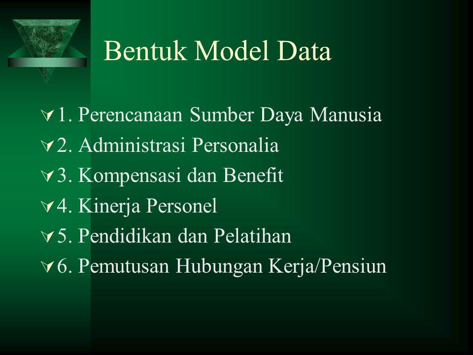 Bentuk Model Data  1. Perencanaan Sumber Daya Manusia  2. Administrasi Personalia  3. Kompensasi dan Benefit  4. Kinerja Personel  5. Pendidikan