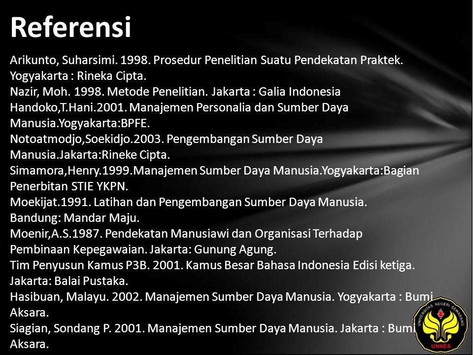 Referensi Arikunto, Suharsimi. 1998. Prosedur Penelitian Suatu Pendekatan Praktek. Yogyakarta : Rineka Cipta. Nazir, Moh. 1998. Metode Penelitian. Jak