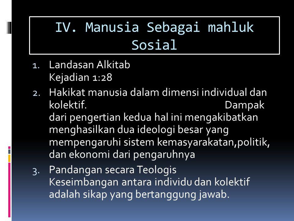 IV. Manusia Sebagai mahluk Sosial 1. Landasan Alkitab Kejadian 1:28 2. Hakikat manusia dalam dimensi individual dan kolektif. Dampak dari pengertian k