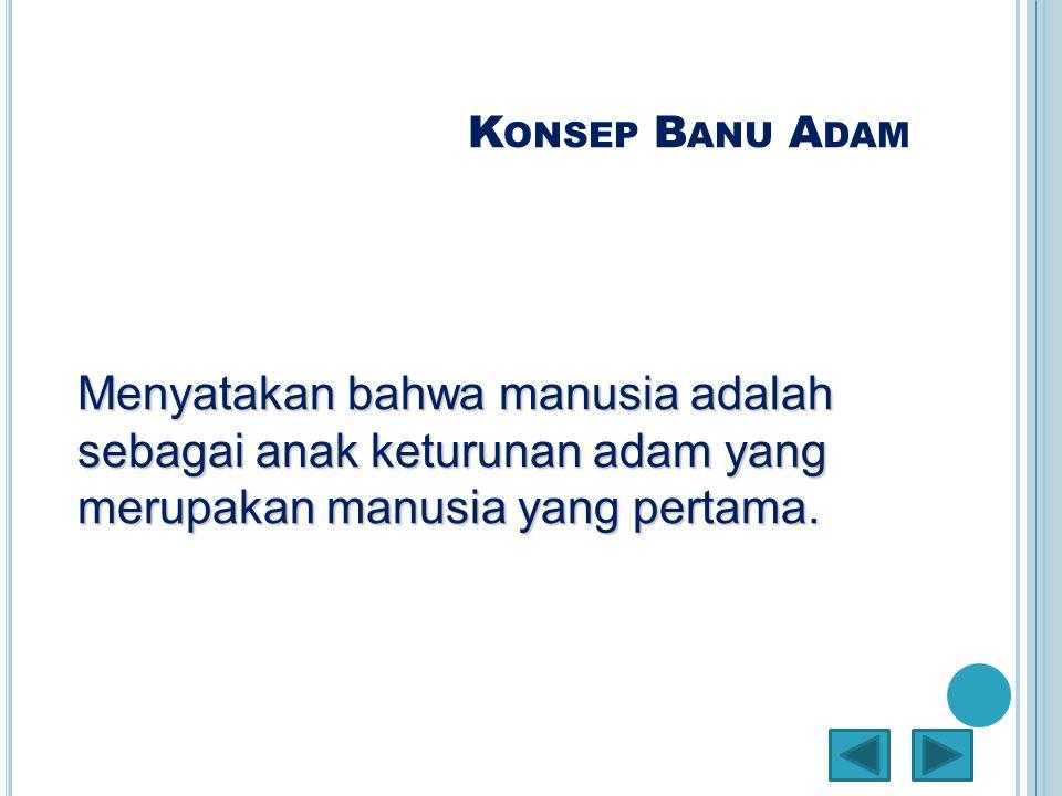 K ONSEP B ANU A DAM Menyatakan bahwa manusia adalah sebagai anak keturunan adam yang merupakan manusia yang pertama.