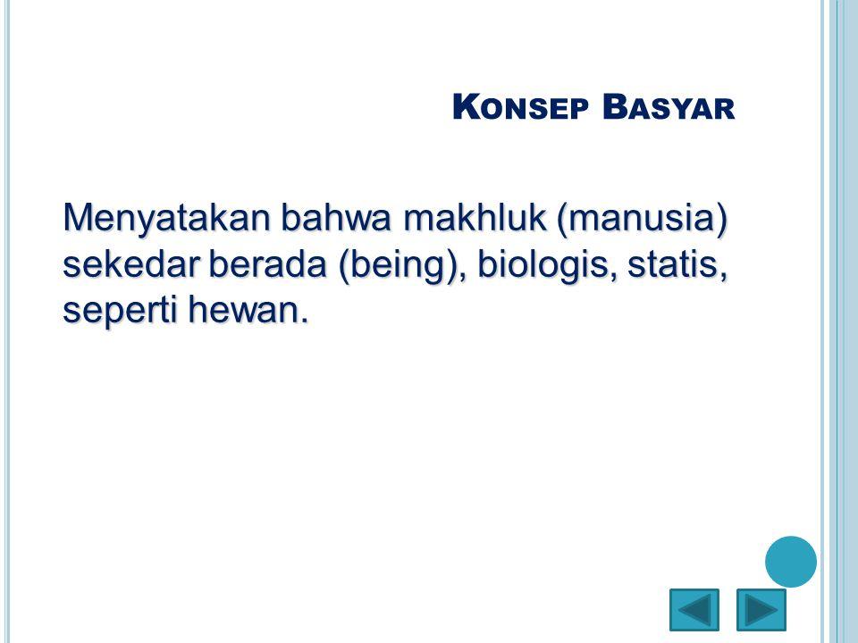 K ONSEP B ASYAR Menyatakan bahwa makhluk (manusia) sekedar berada (being), biologis, statis, seperti hewan.