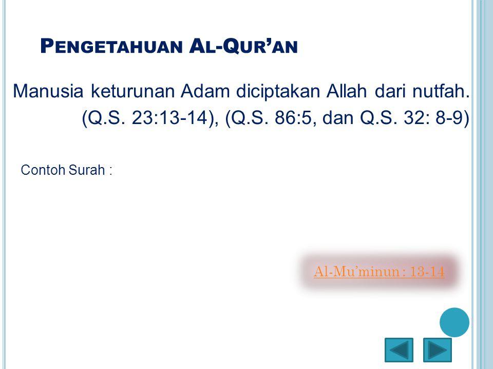 P ENGETAHUAN A L -Q UR ' AN Manusia keturunan Adam diciptakan Allah dari nutfah. (Q.S. 23:13-14), (Q.S. 86:5, dan Q.S. 32: 8-9) Contoh Surah : Al-Mu'