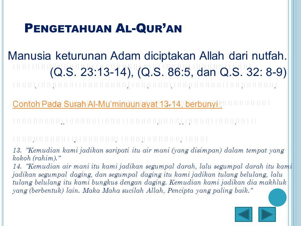 P ENGETAHUAN A L -Q UR ' AN Manusia keturunan Adam diciptakan Allah dari nutfah. (Q.S. 23:13-14), (Q.S. 86:5, dan Q.S. 32: 8-9)   