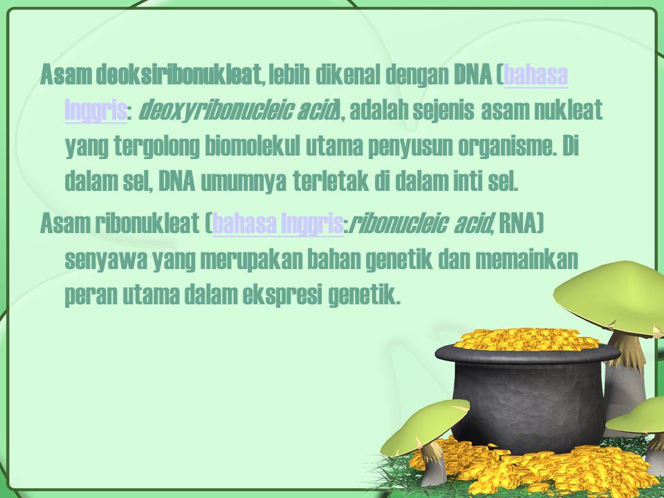 Asam deoksiribonukleat, lebih dikenal dengan DNA (bahasa Inggris: deoxyribonucleic acid), adalah sejenis asam nukleat yang tergolong biomolekul utama