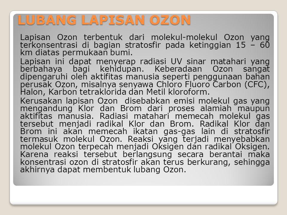 LUBANG LAPISAN OZON Lapisan Ozon terbentuk dari molekul-molekul Ozon yang terkonsentrasi di bagian stratosfir pada ketinggian 15 – 60 km diatas permuk