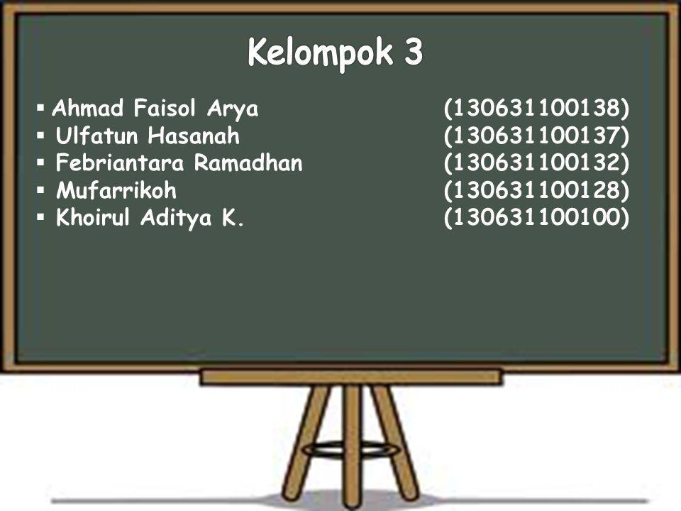  Ahmad Faisol Arya (130631100138)  Ulfatun Hasanah(130631100137)  Febriantara Ramadhan (130631100132)  Mufarrikoh(130631100128)  Khoirul Aditya K