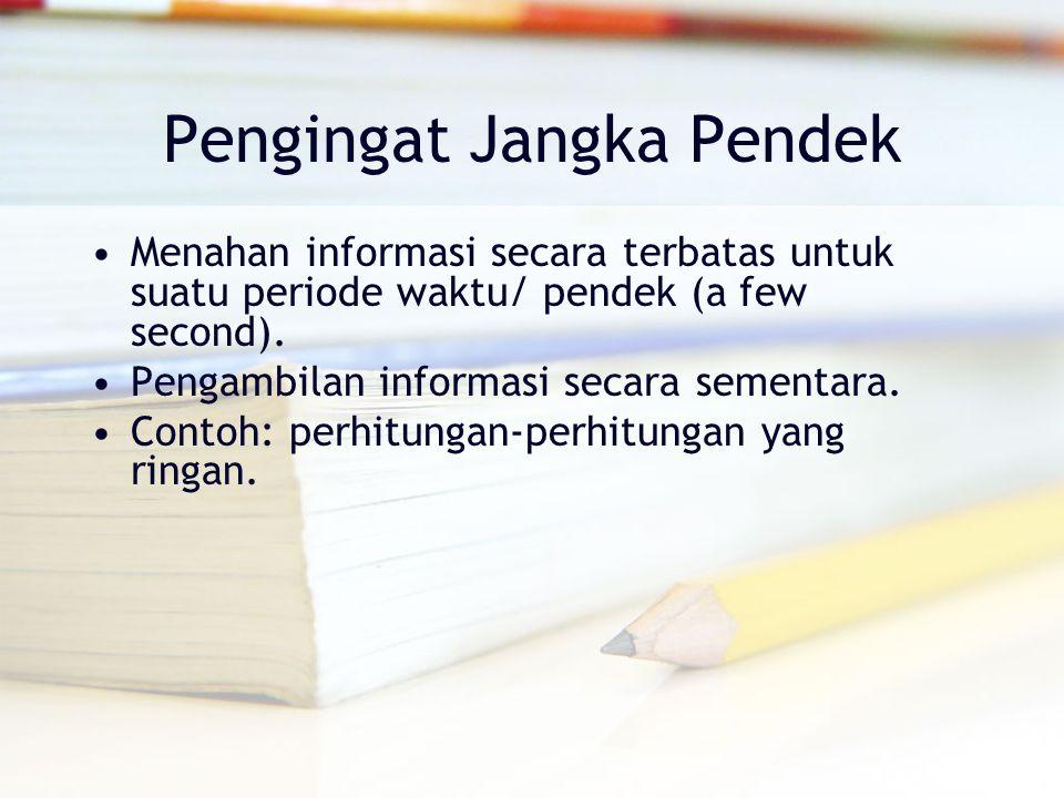 Pengingat Jangka Pendek Menahan informasi secara terbatas untuk suatu periode waktu/ pendek (a few second). Pengambilan informasi secara sementara. Co
