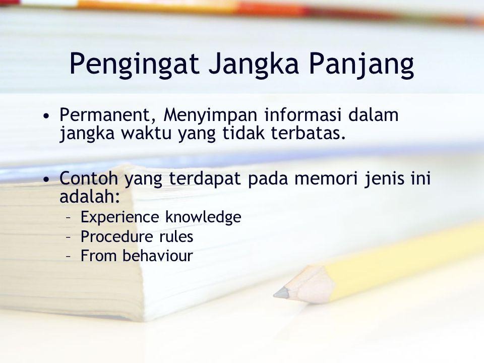 Pengingat Jangka Panjang Permanent, Menyimpan informasi dalam jangka waktu yang tidak terbatas. Contoh yang terdapat pada memori jenis ini adalah: –Ex