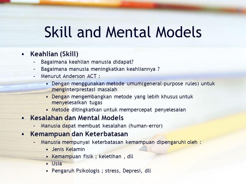 Skill and Mental Models Keahlian (Skill) –Bagaimana keahlian manusia didapat? –Bagaimana manusia meningkatkan keahliannya ? –Menurut Anderson ACT : De