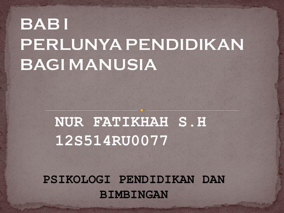 NUR FATIKHAH S.H 12S514RU0077 PSIKOLOGI PENDIDIKAN DAN BIMBINGAN