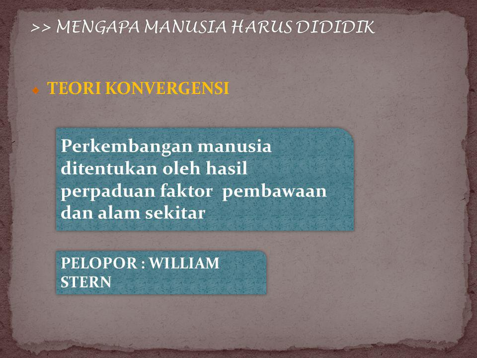 TEORI KONVERGENSI Perkembangan manusia ditentukan oleh hasil perpaduan faktor pembawaan dan alam sekitar PELOPOR : WILLIAM STERN